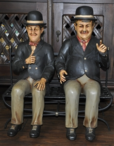 Laurel And Hardy Figures Sitting On The Bench