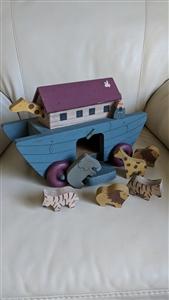 Vintage Wooden Noahs Ark On Wheels With Wooden Animals