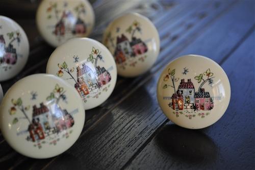 Vintage Porcelain Drawer Cabinet Knobs, Hand Painted Porcelain Cabinet Knobs